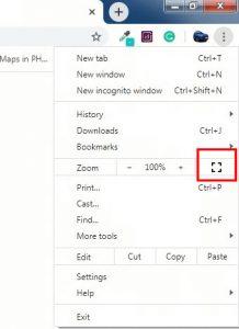 chrome full screen windows click