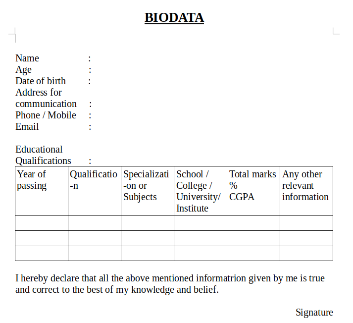 New BIOData format download in ms word