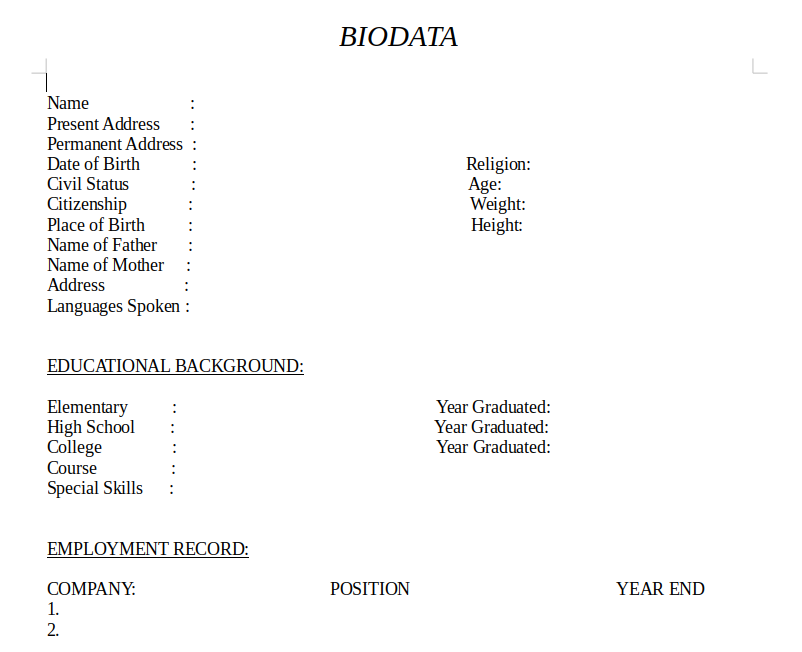 Sample BIODATA Download