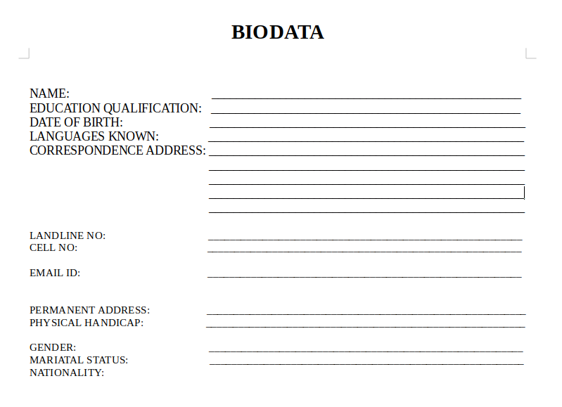 Sample BIODATA Format in word